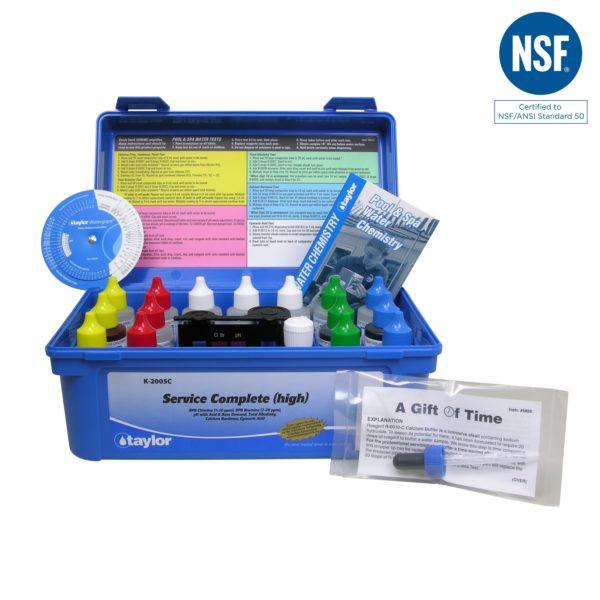 Service Complete™ kit for Chlorine/Bromine, pH, Alkalinity, Hardness, CYA (DPD–high range) (2 oz bottles)