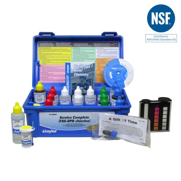 Service Complete™ kit for Chlorine, pH, Alkalinity, Hardness, CYA (FAS-DPD–high range) (2 oz bottles)